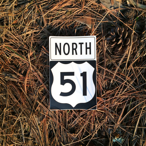 51 North Highway Sign Sticker