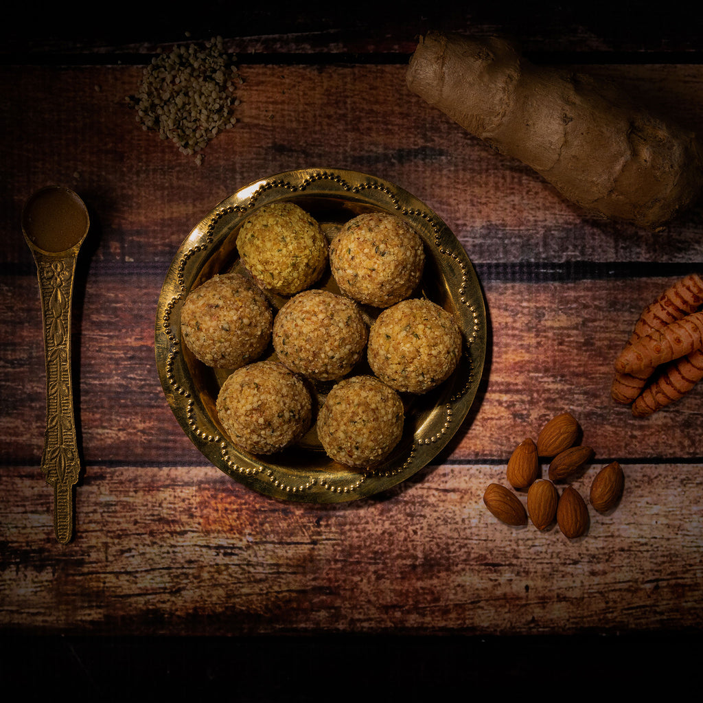 Almond, ginger, hemp, turmeric laddu