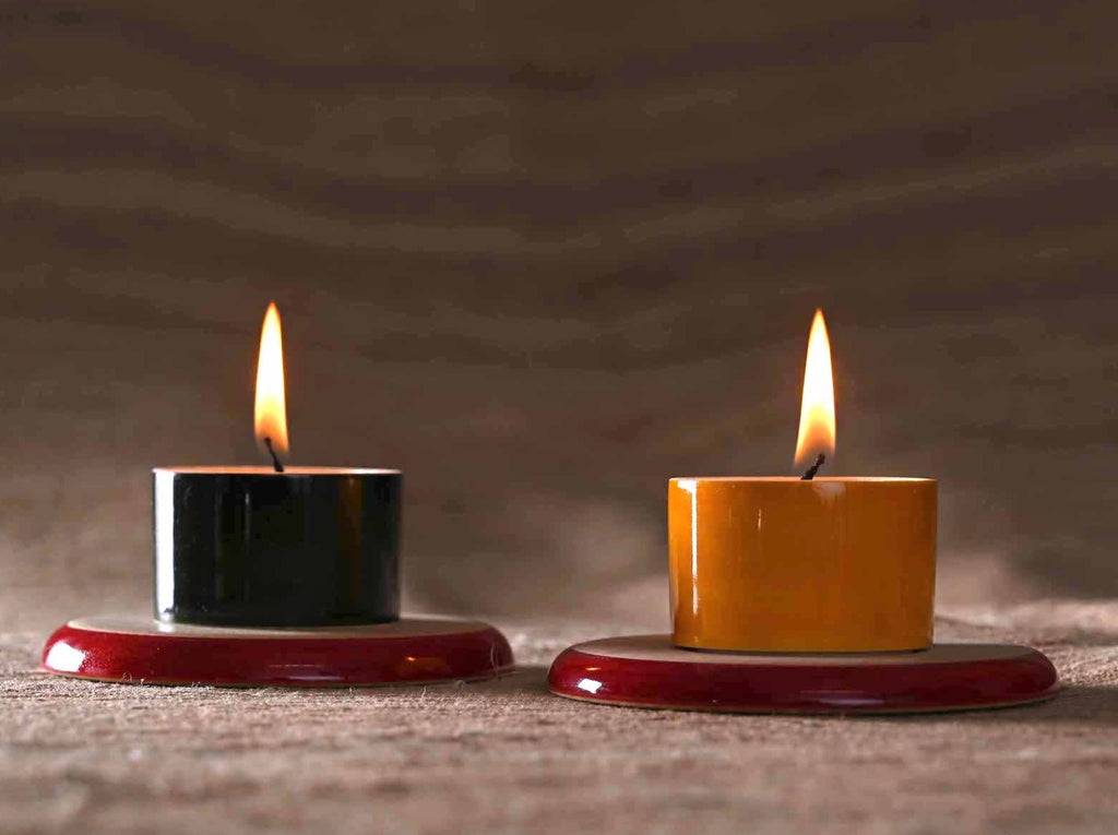 Channapatna lacquer tea light holders and coasters