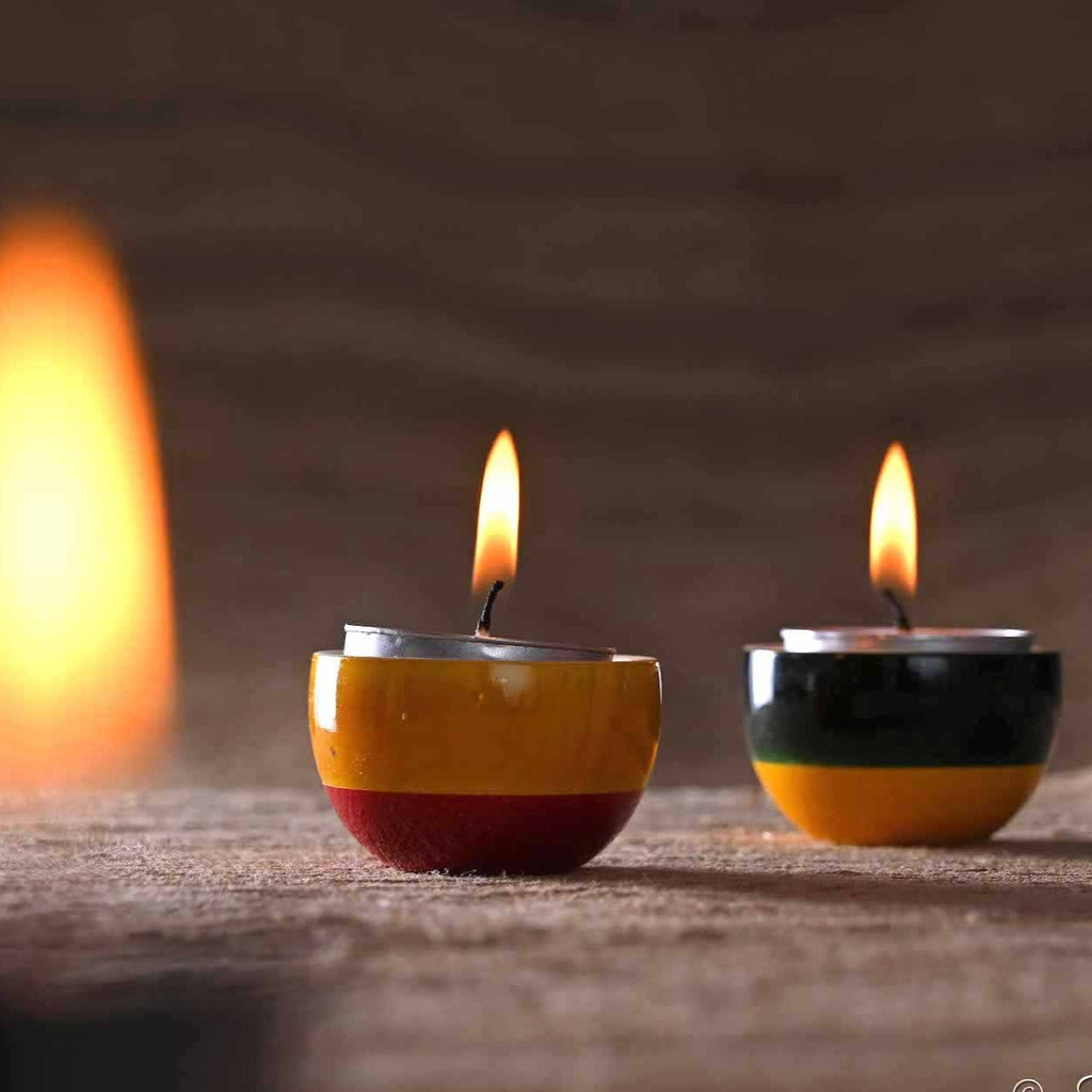 Channapatna lacquer tea light holders