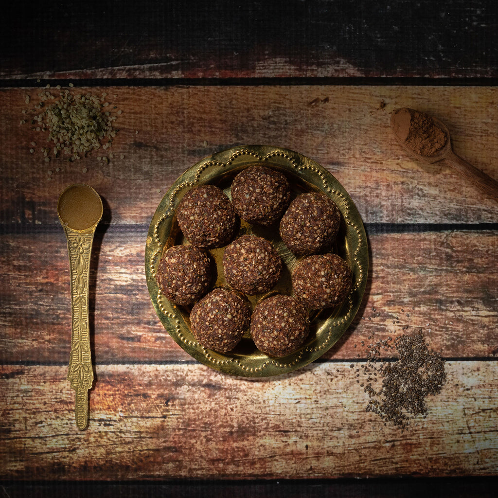 Hemp, chia, dark chocolate laddu