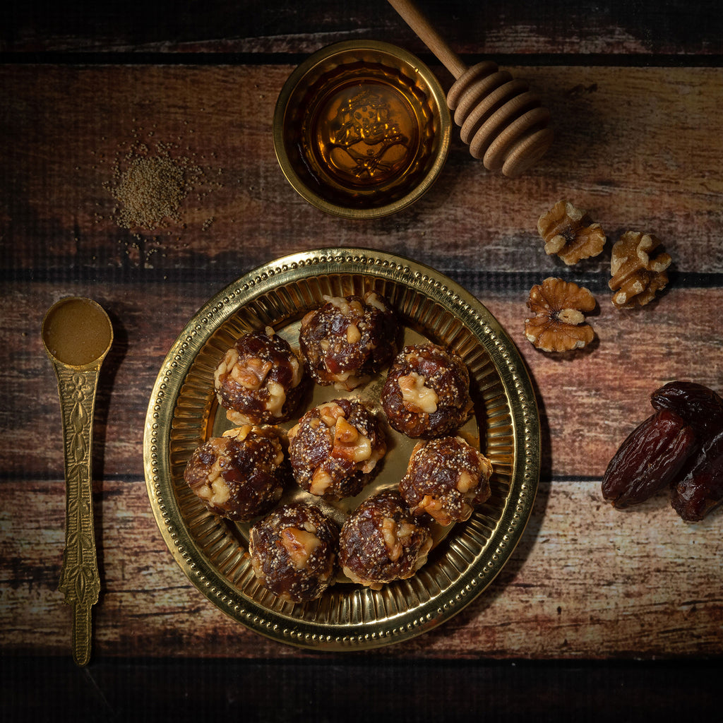 Dates, poppy seed, walnuts honey laddu