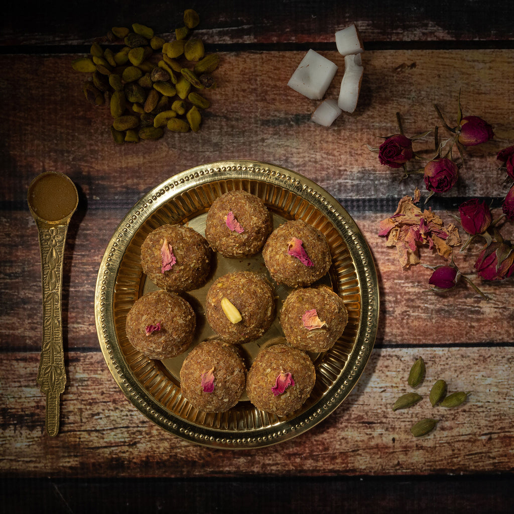 Pistachios, coconut, rose laddu