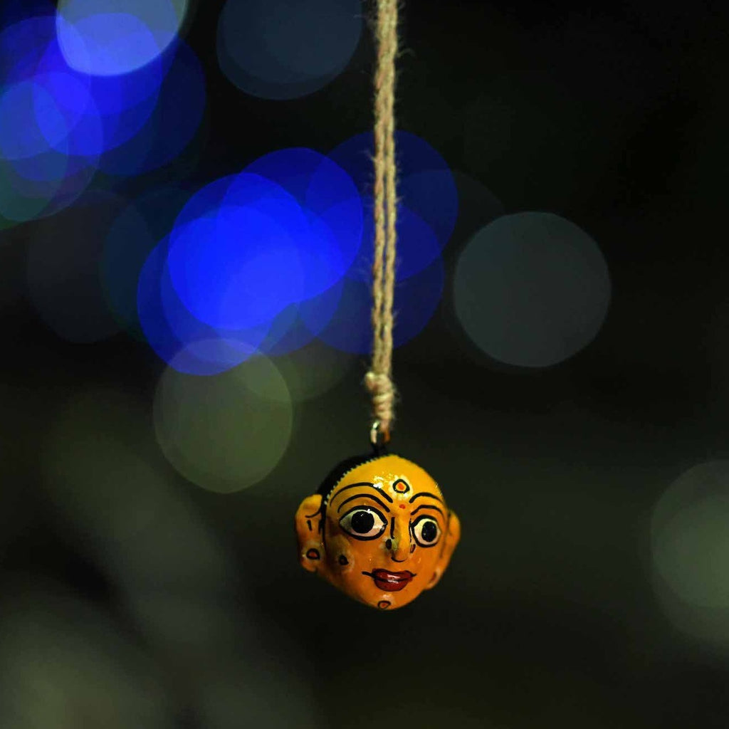 Cheriyal painted Village women key chain car hanging