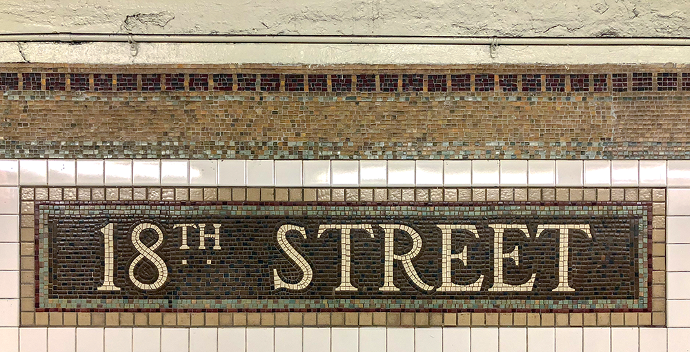 Urban Design Co Dominic Mosaic Tile Work NY Subway 18th St