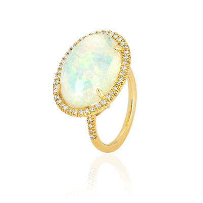 Opal and Pave Diamond Ring