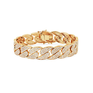 Gold diamond link bracelet