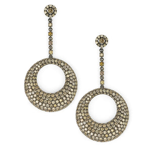 Circle Drop Diamond Earrings