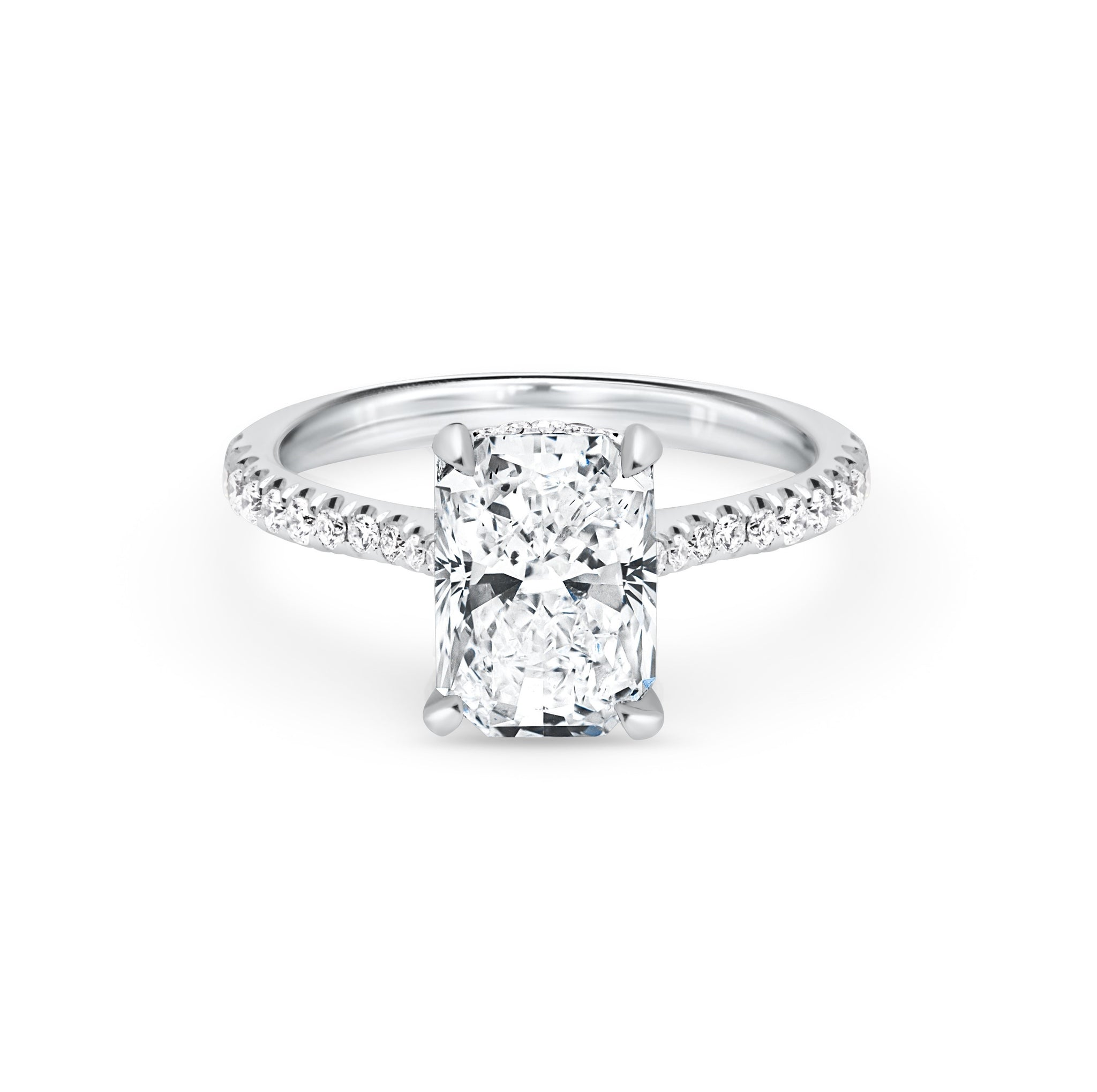 Radiant Cut Diamond Engagement Ring with Pave 3.88ctw