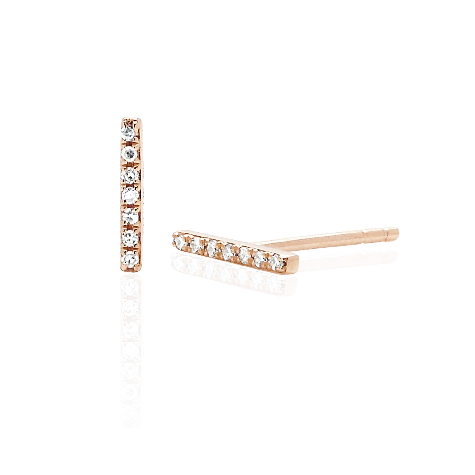 Mini Pave Diamond Bar Stud Earring