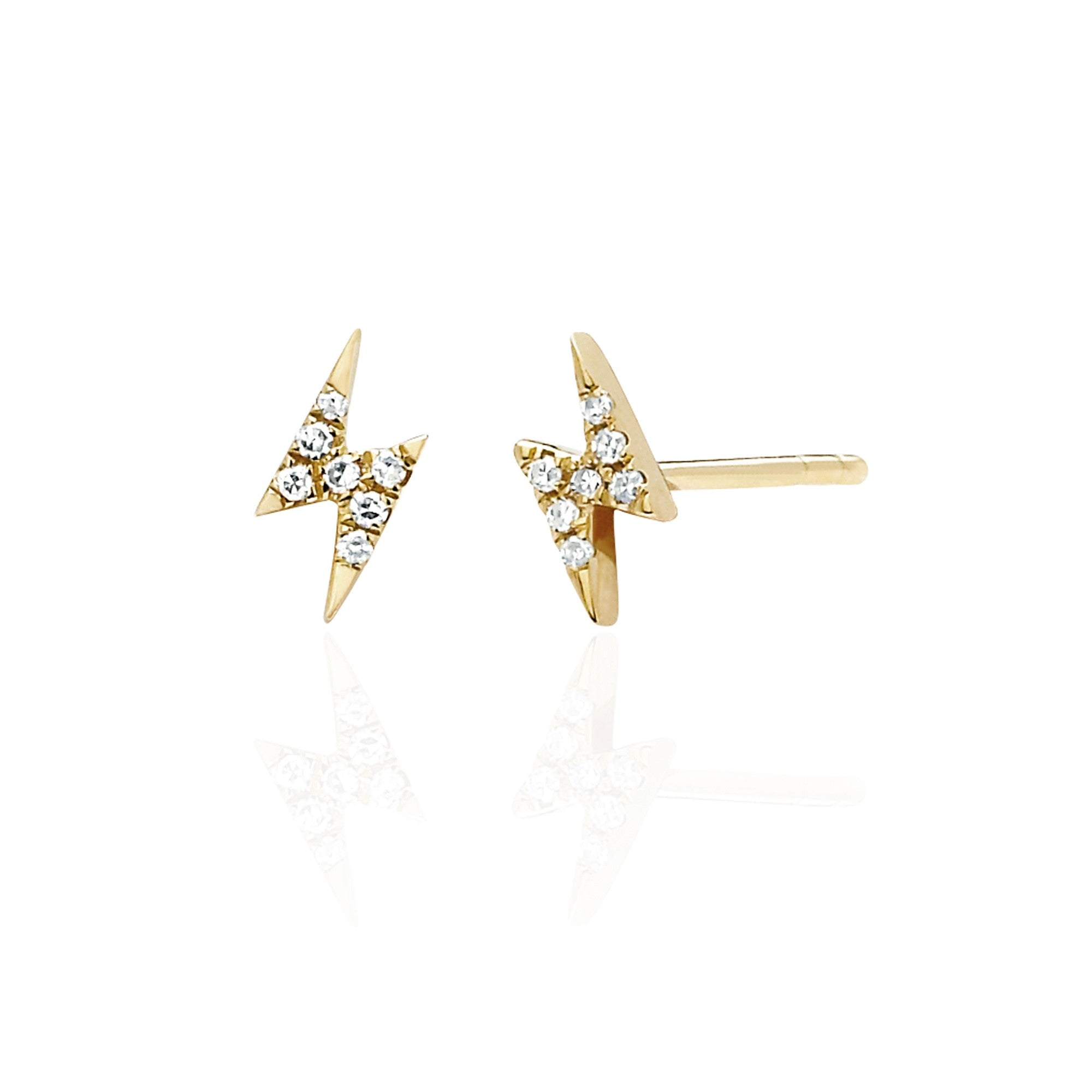 Mini Pave Diamond Lightening Earring