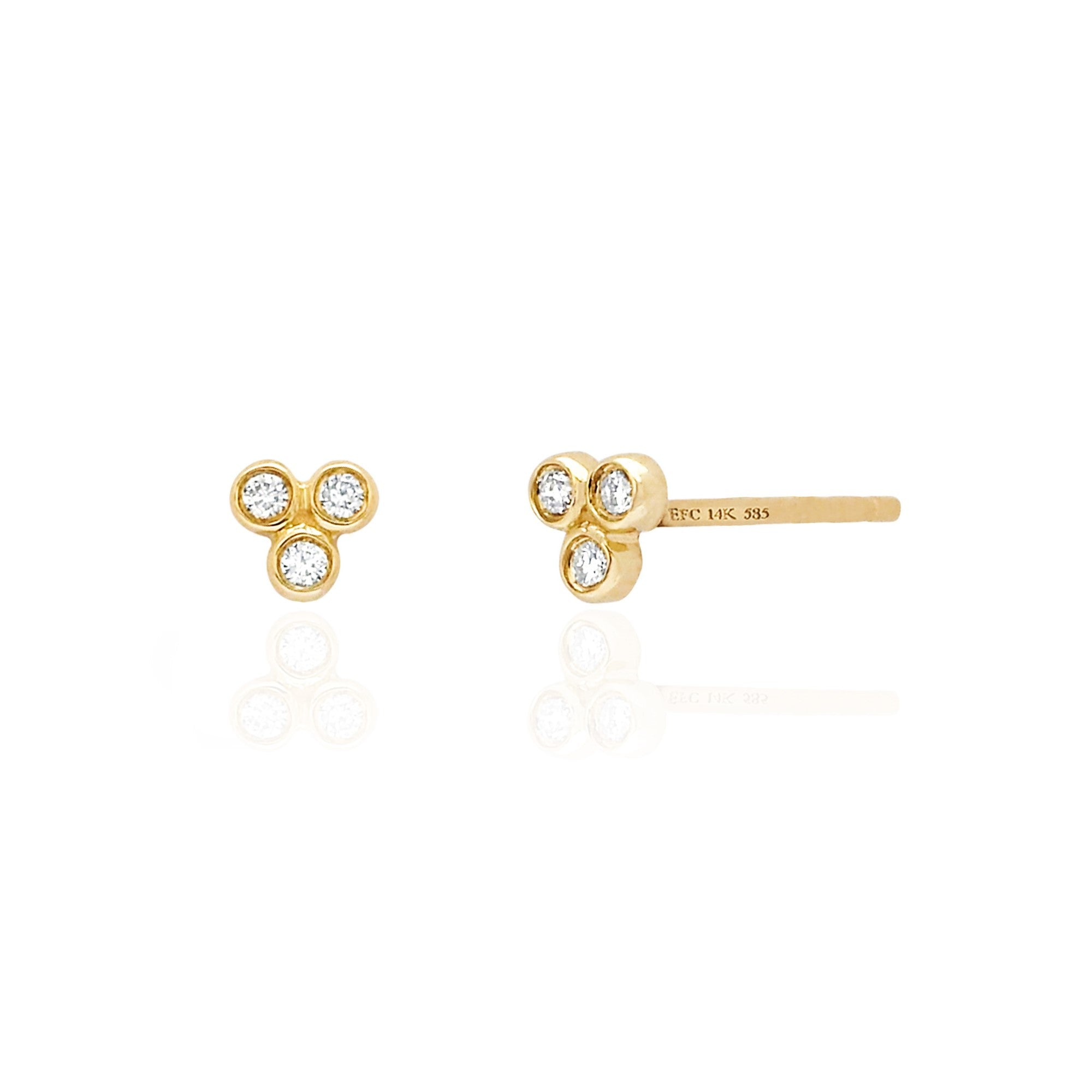 3 Bezel Diamond Stud Earrings