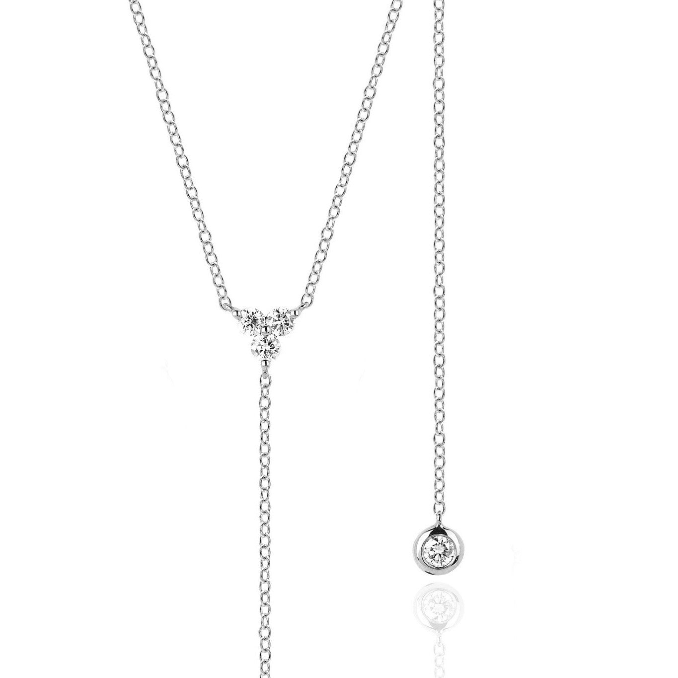 Lariat Necklace with 3 Diamonds