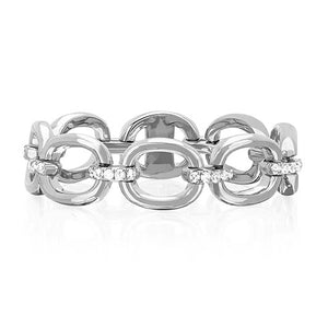 Oval Link Ring with Diamonds