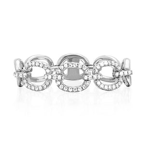 Open Link Chain Ring with Diamonds