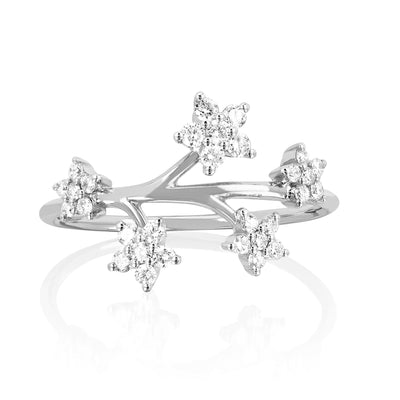 Diamond Ring with Flowers