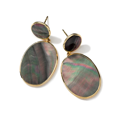 Black Shell Oval Drop Earrings