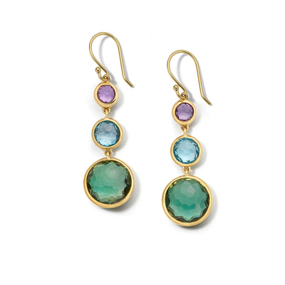 3-Stone Hologem Drop Earrings