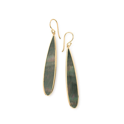 Black Shell Long Drop Earrings