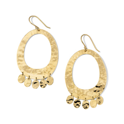 Crinkle Open Oval Earrings