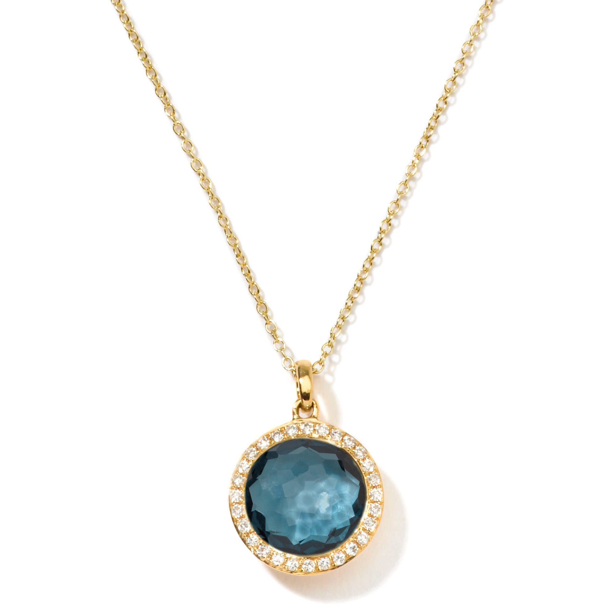 Mini Blue Topaz and Pave Diamond Pendant