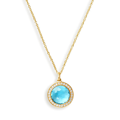 Mini Swiss Blue Topaz and Pavé Diamond Pendant