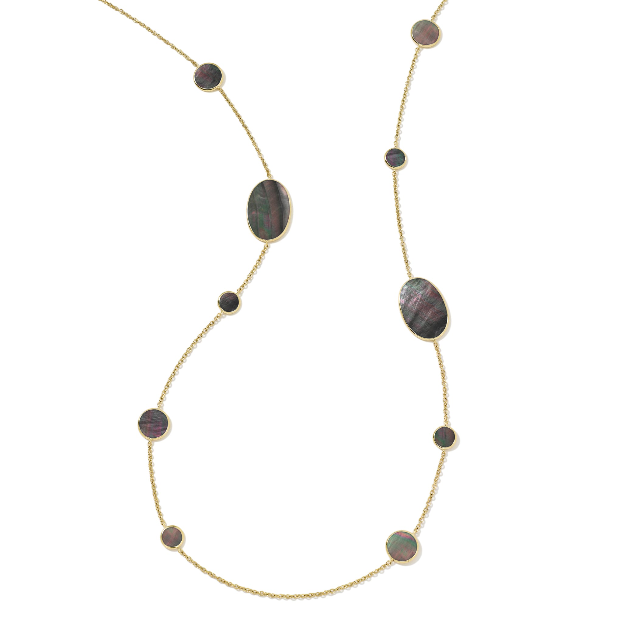 Black Shell Mixed Shapes Station Necklace