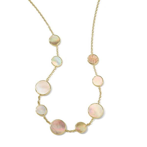 Brown Shell Circle Station Necklace