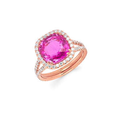 Cushion Cut Pink Sapphire and Diamond Ring