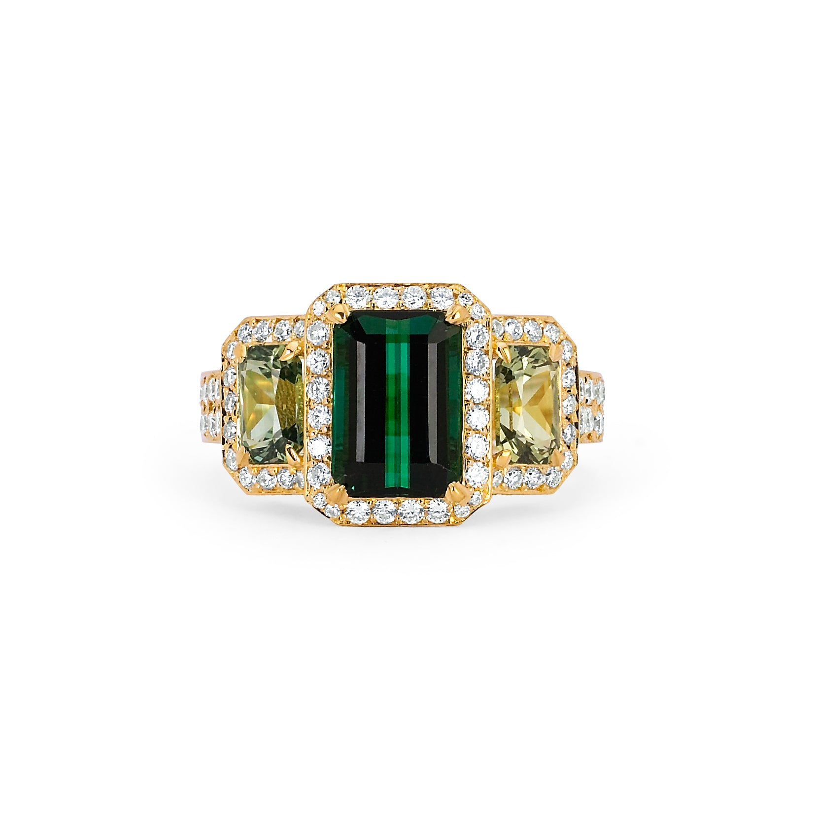 Green Tourmaline, Green Sapphire, and Diamond Ring
