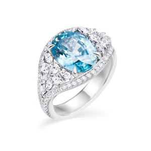 Blue Zirconium and Diamond Ring