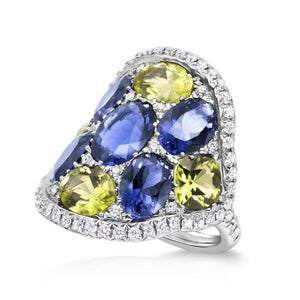 Iolite, Peridot and Diamond Ring