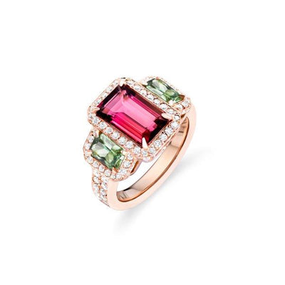Pink Tourmaline and Green Sapphire Ring with Diamonds