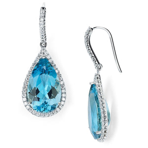 Aquamarine and Pave Diamond Earrings