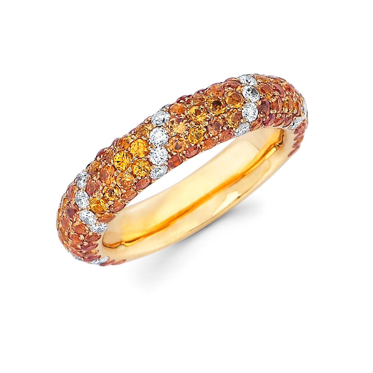 Orange Sapphire and Diamond Band