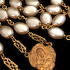 Vintage Faux Pearl Rosary with Inlaid Crucifix