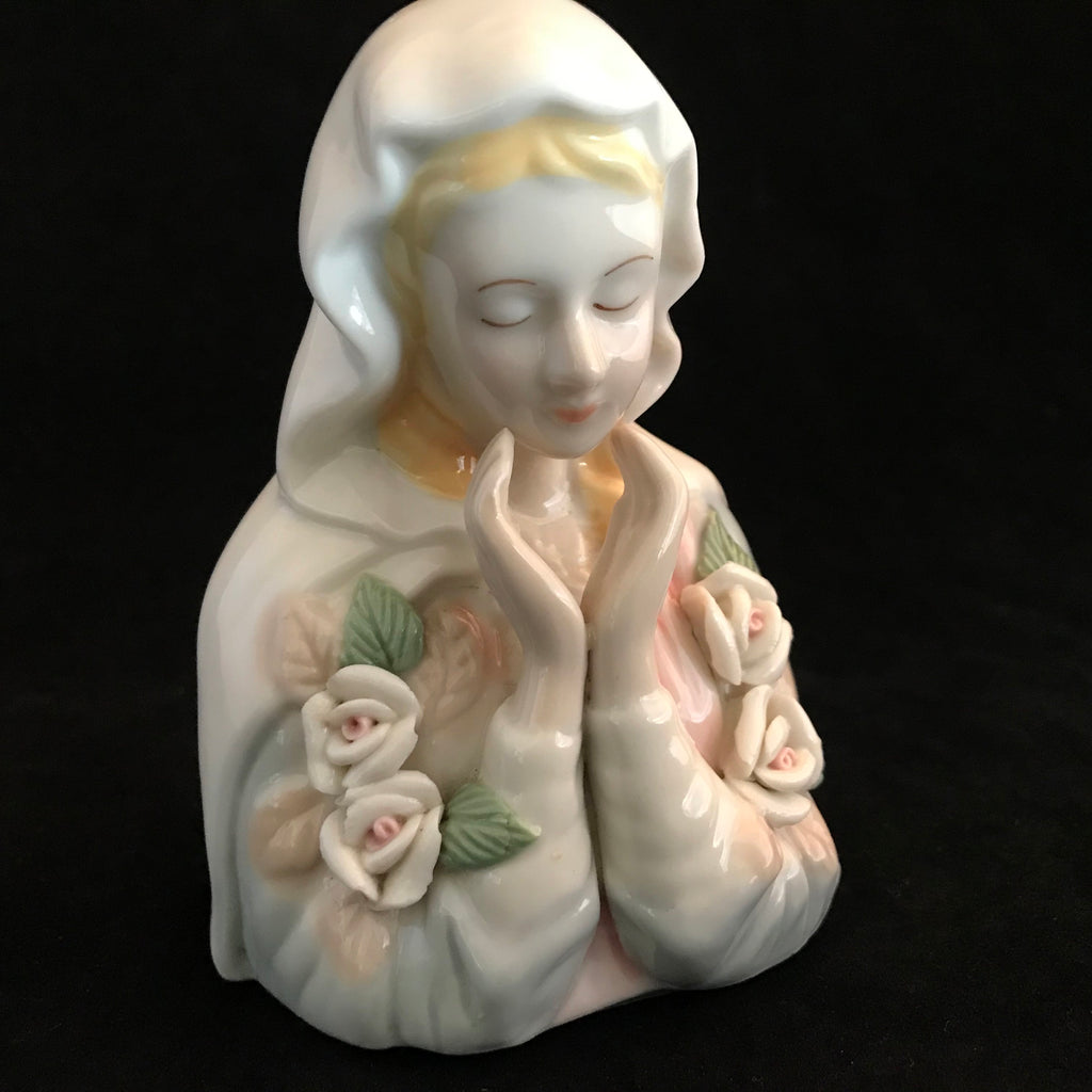 Sweet Madonna Statue with Roses