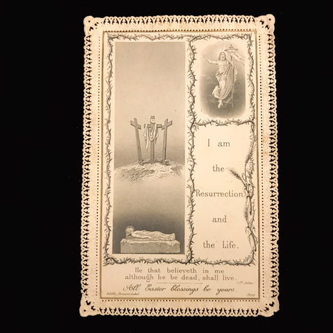 Antique Easter Blessings Lace Holy Card - The Vintage Catholic