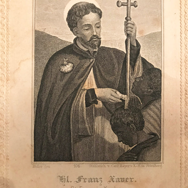 Antique Prayer Card - Saint Francis Xavier