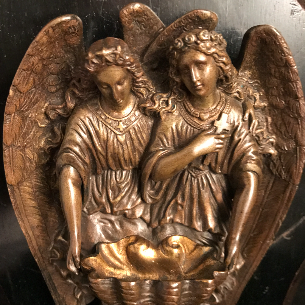 Antique Bronze Angels Holy Water Front