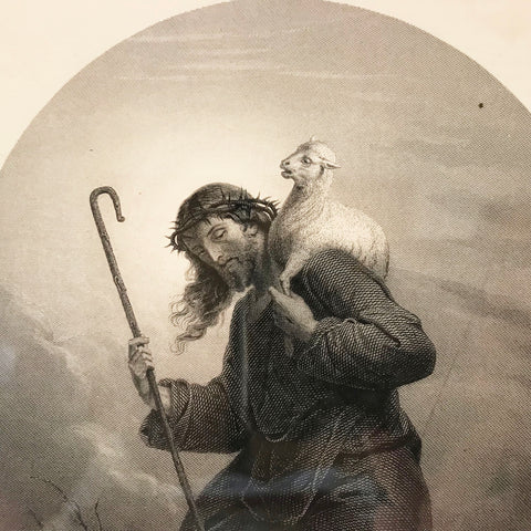 Antique Engraving of Christ as The Good Shepherd