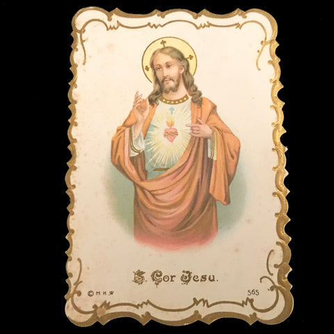 French Sacred Heart of Jesus Holy Card