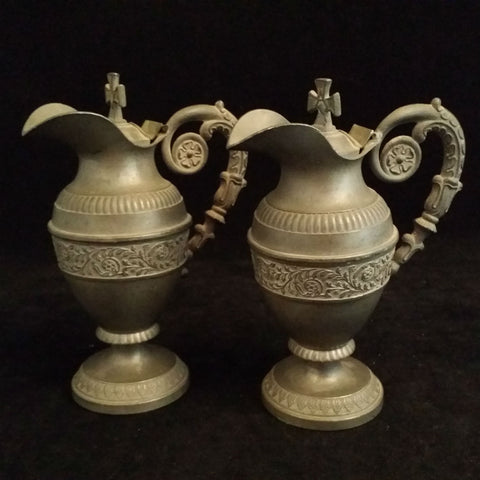 Pewter Ecclesiastical Cruet Set - The Vintage Catholic