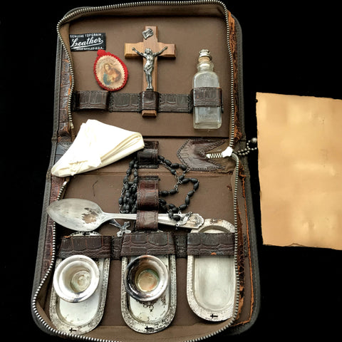 Portable Last Rites Set in Leather Case - The Vintage Catholic