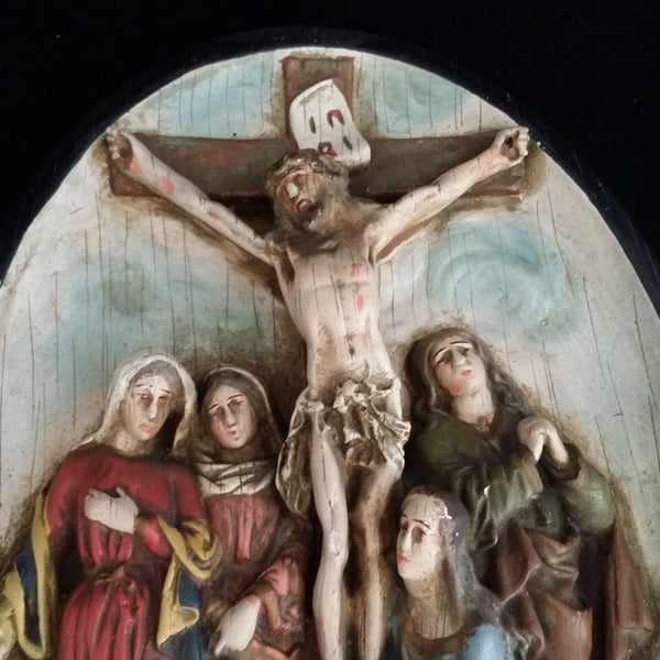 Antique 12th Station of the Cross: Jesus Dies on the Cross - The Vintage Catholic