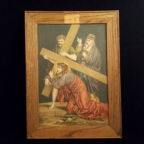 Fifth Station of the Cross; Simon of Cyrene Helps Jesus Carry His Cross