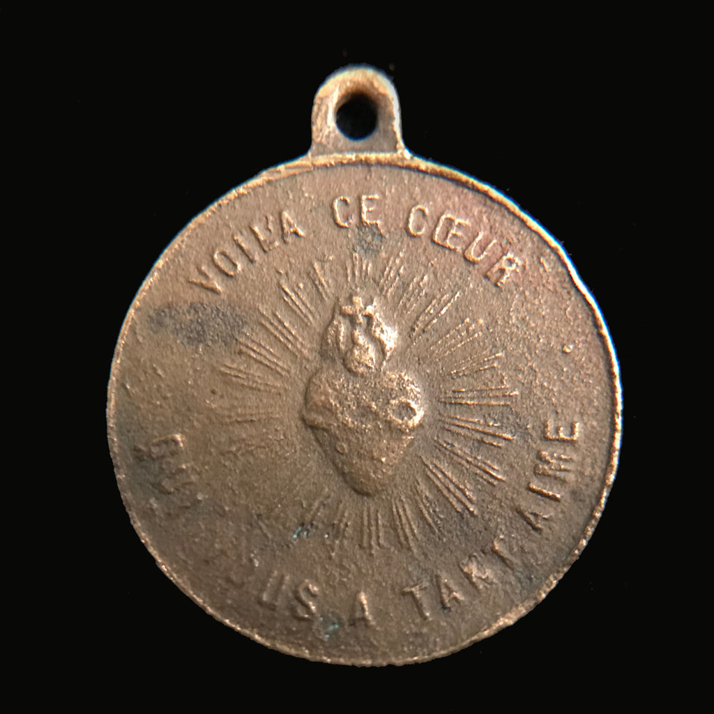 Antique French Sacred Heart / Madonna & Child Medal