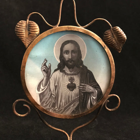 Sacred Heart of Jesus Devotional with Candle Holder - The Vintage Catholic