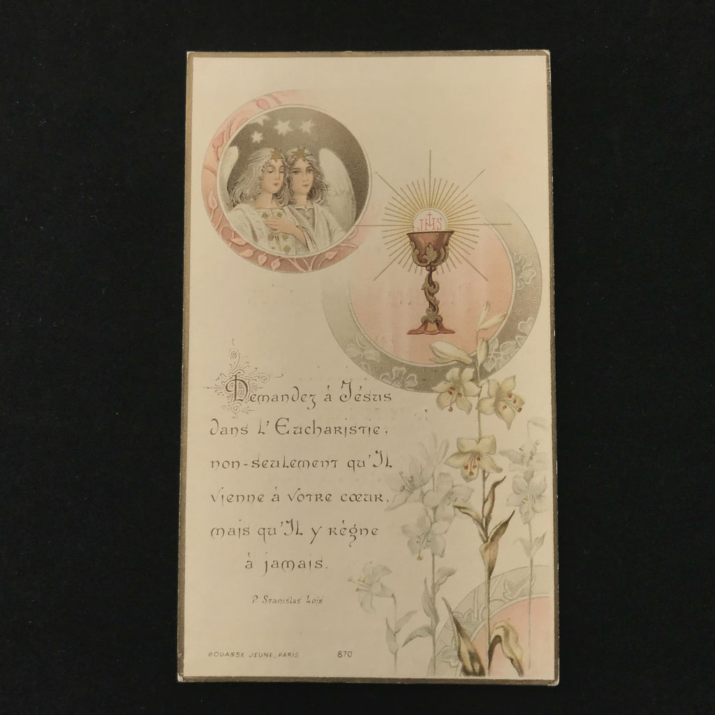 First Communion Card with Angels and Eucharist, French, 1909 - The Vintage Catholic