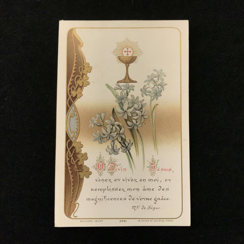 First Communion Card with Lilies and the Eucharist, French, 1911 - The Vintage Catholic